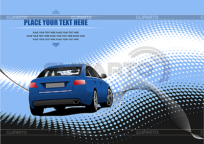 Blue poster mit car sedan | Stock Vector Graphics |ID 3070032