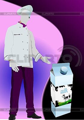 Milchprodukt in Kartonbox und Koch | Stock Vektorgrafik |ID 3070322