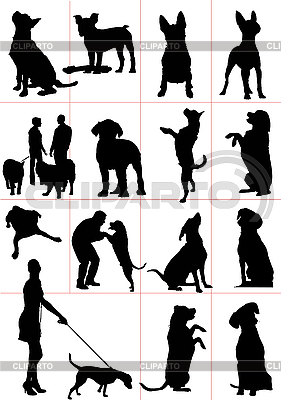Set of dog silhouettes | Stock Vector Graphics |ID 3070342