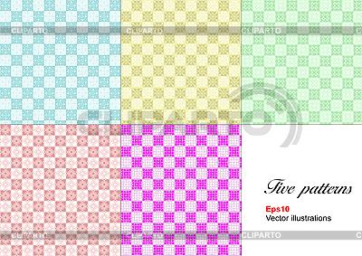 Set of five monochrome geometrical patterns. | High resolution stock illustration |ID 3079784