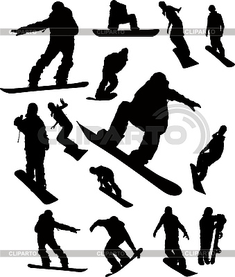 Snowboarder man silhouette set | Stock Vector Graphics |ID 3079912