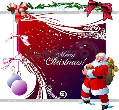 Czerwona kartka świąteczna z Mikołajem | Klipart wektorowy |ID 3079979