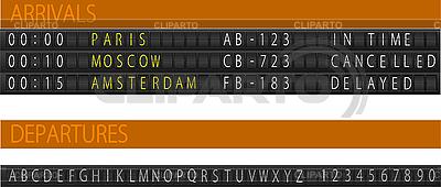 Airport mechanical schedule desk   Stock Vector Graphics  ID 3080017