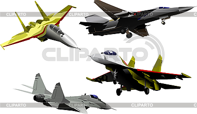 Four military aircrafts | High resolution stock illustration |ID 3106050
