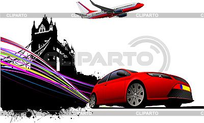 Car and airplane in london   Stock Vector Graphics  ID 3136065