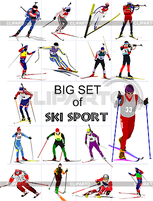 Set of Ski sportsmen | Stock Vector Graphics |ID 3136311