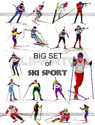 스키 스포츠맨의 설정 | 벡터 클립 아트 |ID 3136311
