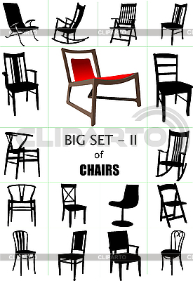 Big set of home chair silhouettes. | Stock Vector Graphics |ID 3174321