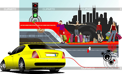 Kobiety z torby na zakupy i żółty samochód | Klipart wektorowy |ID 3175156