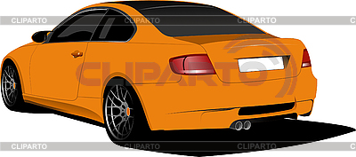 Orange car-coupe on the road. | 向量插图 |ID 3176543