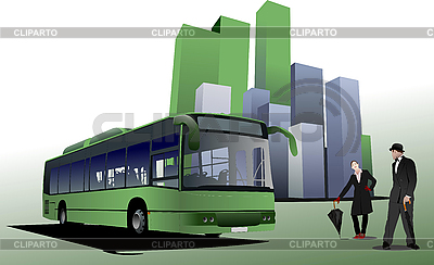 Abstract urban background with city bus | Stock Vector Graphics |ID 3181382