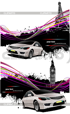 Two grunge posters with car in London and Paris | Stock Vector Graphics |ID 3181459