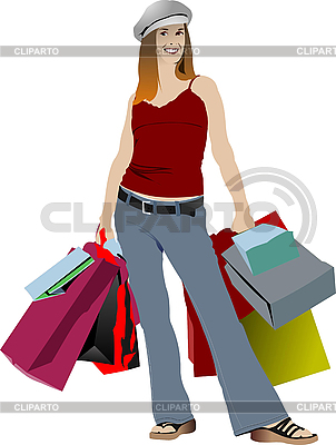 Cute shopping lady with bags | Stock Vector Graphics |ID 3182973