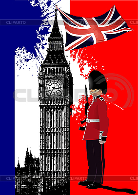 Poster with Big Ben and Britain flag | Stock Vector Graphics |ID 3186298