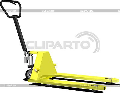 手黄色托盘叉车。叉车。 | 向量插图 |ID 3189518