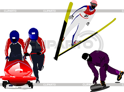 Winter sport silhouettes. Bobsleighing, ski jumping, curling | Stock Vector Graphics |ID 3189620