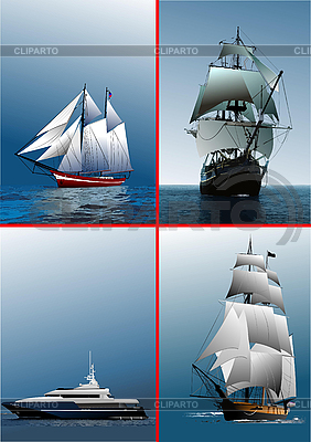 Four old sailing vessels | Stock Vector Graphics |ID 3208004