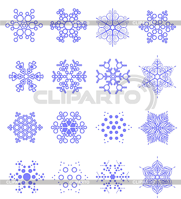 Sixteen snowflakes as winter design element.   Stock Vector Graphics  ID 3208133