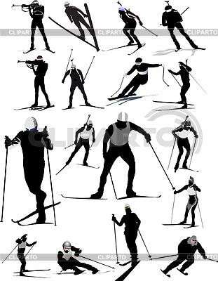 Big set of ski sport silhouettes | Stock Vector Graphics |ID 3359165