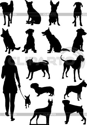 Set of dogs silhouette | Klipart wektorowy |ID 3366750