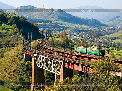 Train on railway bridge | High resolution stock photo |ID 3049178