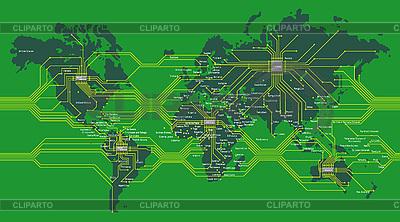 Cyfrowa mapa świata | Klipart wektorowy |ID 3051594