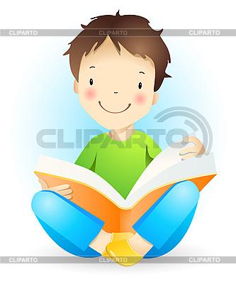 Chłopiec czyta książkę | Klipart wektorowy |ID 3057341