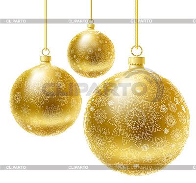 Золотые новогодние шары | Векторный клипарт |ID 3073437