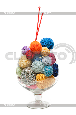 Glass with ball for knitting   High resolution stock photo  ID 3050731