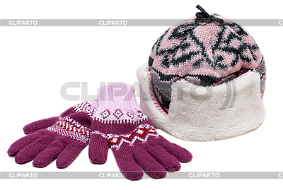 Winter hat with fur and violet gloves | High resolution stock photo |ID 3050770