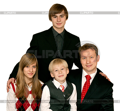 Ojciec i troje dzieci | Foto stockowe wysokiej rozdzielczości |ID 3050796