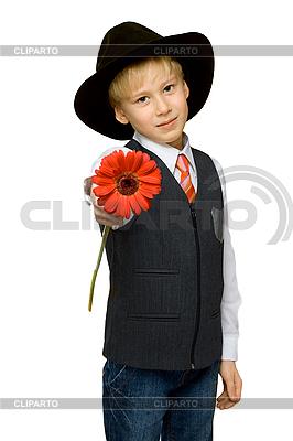 Knabe mit roter Blume | Foto mit hoher Auflösung |ID 3050798