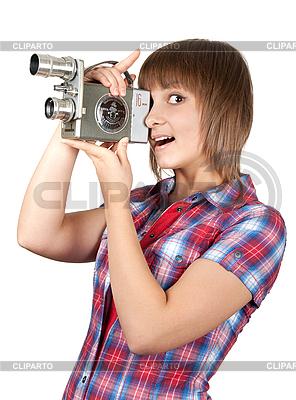영화 카메라와 격자 무늬의 셔츠에있는 여자 | 높은 해상도 사진 |ID 3060259