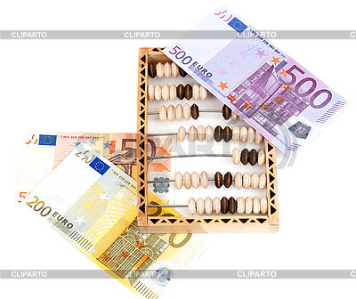 Wooden abacus and euro banknotes | High resolution stock photo |ID 3060314