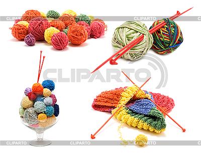Сollage varicoloured balls for knitting   High resolution stock photo  ID 3060399