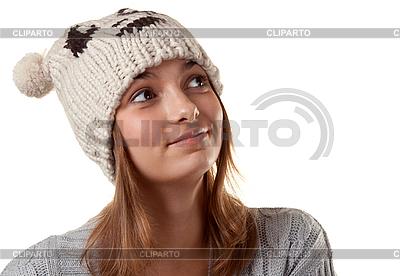Porträt des jungen Mädchens mit Wintermütze   Foto mit hoher Auflösung  ID 3066170