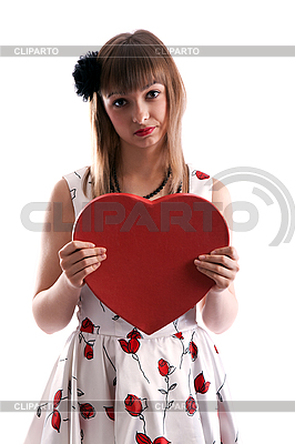Beautiful girl in gown with red heart in hand | High resolution stock photo |ID 3066333