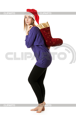 Schönes Mädchen in roter Weihnachtsmütze | Foto mit hoher Auflösung |ID 3066376