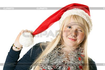 Junges Mädchen in einer Weihnachtsmütze | Foto mit hoher Auflösung |ID 3066379