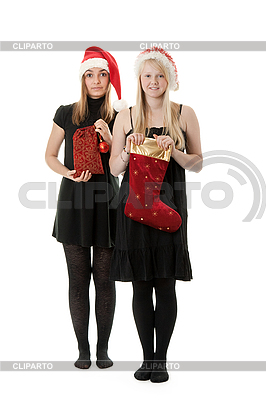 Two girls in the Santa hat | High resolution stock photo |ID 3066383