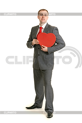 Man in gray suit with red heart | High resolution stock photo |ID 3067185