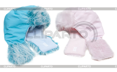 Two winter baby fur hats, rose and blue | High resolution stock photo |ID 3307924