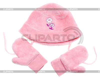 Rose baby set of hat and mittens | High resolution stock photo |ID 3309450
