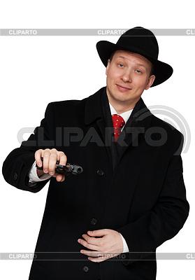 Mann im schwarzen Mantel und Hut | Foto mit hoher Auflösung |ID 3335439