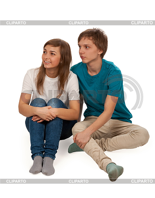 Boy and girl sitting on floor   High resolution stock photo  ID 3336099