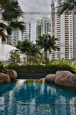 Swimming pool with views of skyscrapers | High resolution stock photo |ID 3339151