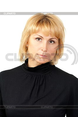 Portret poważne piękne dziewczyny ubrane w czarne | Foto stockowe wysokiej rozdzielczości |ID 3344589