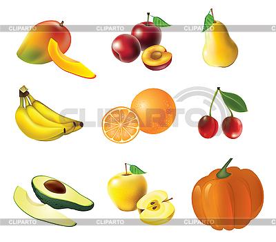 Conjunto de frutas y verduras | Ilustración vectorial de stock |ID 3050904
