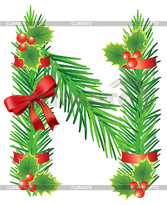 Christmas letter N made of fir branches | Stock Vector Graphics |ID 3052100