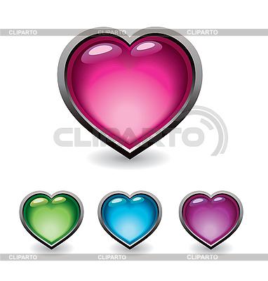 심장 모양의 단추 집합 | 벡터 클립 아트 |ID 3055718